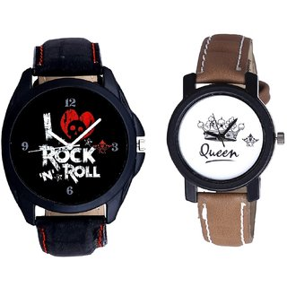 Luxury Rock N Roll Art And Queen Dial Couple Analogue Watch By Gujarat Hub