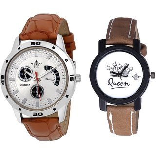 Cronograph Silver Dial And Queen Dial Couple Analogue Watch By Gujarat Hub