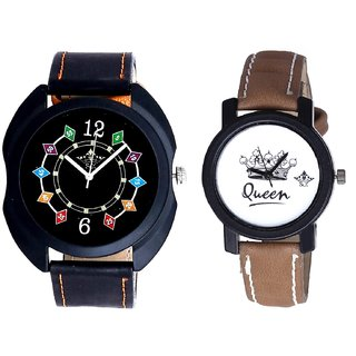 Special 3D Designer Chain And Queen Dial Couple Analogue Watch By Gujarat Hub