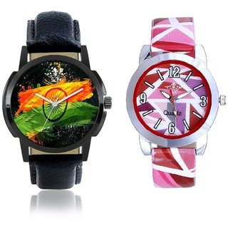 Indian Flag With Pink Sep Couple Analogue Wrist Watch By Gujarat Hub