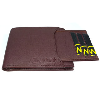 Wildantler Men Brown Atm Holder Artificial Album Leather Wallet (7 Card Slots)