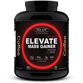 Sinew Nutrition Elevate Mass Gainer, Complex Carb Proteins in 3-1 ratio with DigiEnzymes, 3kg - Coffee Flavour