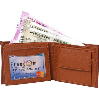 Wildantler Men Tan Artificial Designer Leather Wallet (6 Card Slots)