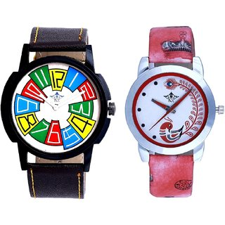 Awesome Design With Red More Couple Analogue Wrist Watch By Gujarat Hub