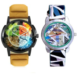 3D Art With Sky Blue Sep Couple Analogue Wrist Watch By Gujarat Hub