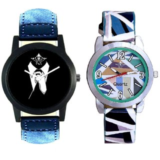 Black-White Dial With Sky Blue Sep Couple Analogue Wrist Watch By Gujarat Hub