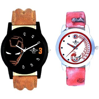 Brown Ironman With Red More Couple Analogue Wrist Watch By Gujarat Hub