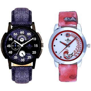 Blue Cronograph Pattern With Red More Couple Analogue Wrist Watch By Gujarat Hub