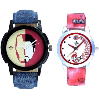 Half Man With Red More Couple Analogue Wrist Watch By Gujarat Hub
