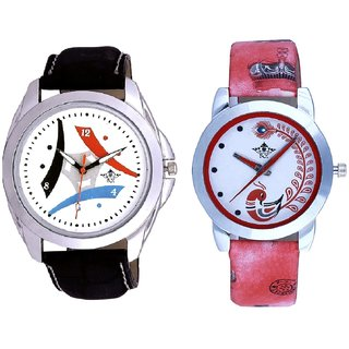 White Dial Tri Fan With Red More Couple Analogue Wrist Watch By Gujarat Hub