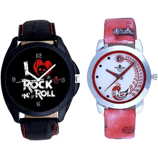 Awesome Rock N Roll Dial With Red More Couple Analogue Wrist Watch By Gujarat Hub