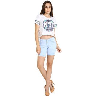 Fuego Fashion Wear Light Blue Shorts For Women