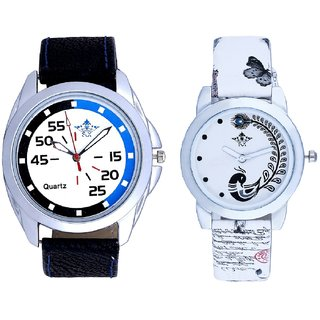 Blue-Black Chen With White More Couple Analogue Wrist Watch By Gujarat Hub