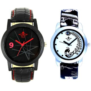 Star Black Dial With Black More Couple Analogue Wrist Watch By Gujarat Hub