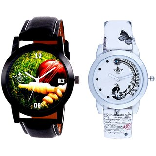 Black Leather Strap With White More Couple Analogue Wrist Watch By Gujarat Hub