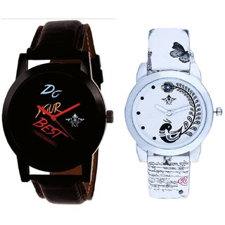 Black Dial Colour Digits With White More Couple Analogue Wrist Watch By Gujarat Hub