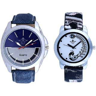 Silver-Blue Dial With Black More Couple Analogue Wrist Watch By Gujarat Hub