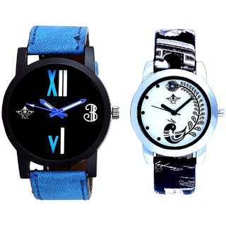 Luxury Blue Leather Strap With Black More Couple Analogue Wrist Watch By Gujarat Hub