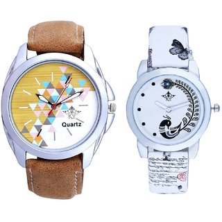 White-Brown Dial With White More Couple Analogue Wrist Watch By Gujarat Hub