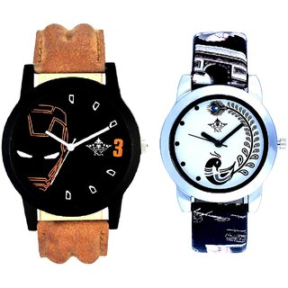 Brown Ironman With Black More Couple Analogue Wrist Watch By Gujarat Hub