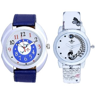 Blue-Black Bird Dial With White More Couple Analogue Wrist Watch By Gujarat Hub