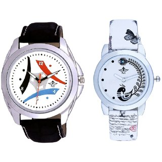 White Dial Tri Fan With White More Couple Analogue Wrist Watch By Gujarat Hub