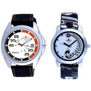Orange-Black Chen With Black More Couple Analogue Wrist Watch By Gujarat Hub