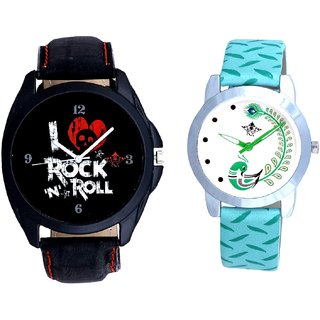 Awesome Rock N Roll Dial With Green More Couple Analogue Wrist Watch By Gujarat Hub