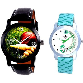Black Leather Strap With Green More Couple Analogue Wrist Watch By Gujarat Hub