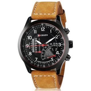 Curren Branded Wristwatch Leather Strap Military Wrist Watch By Prushti