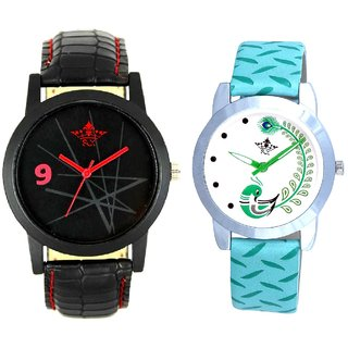 Star Black Dial With Green More Couple Analogue Wrist Watch By Gujarat Hub