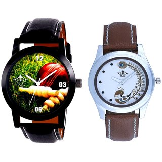 Black Leather Strap With Brown More Couple Analogue Wrist Watch By Gujarat Hub