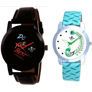 Black Dial Colour Digits With Green More Couple Analogue Wrist Watch By Gujarat Hub