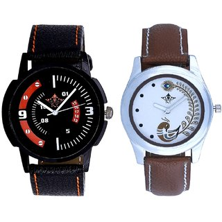 Red-White Design With Brown More Couple Analogue Wrist Watch By Gujarat Hub
