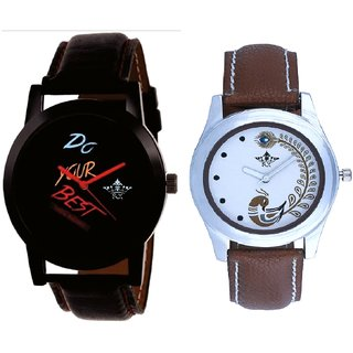 Black Dial Colour Digits With Brown More Couple Analogue Wrist Watch By Gujarat Hub