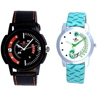 Red-White Design With Green More Couple Analogue Wrist Watch By Gujarat Hub