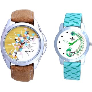 White-Brown Dial With Green More Couple Analogue Wrist Watch By Gujarat Hub