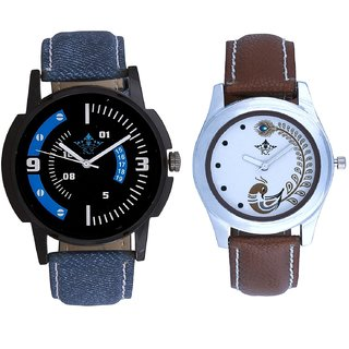 Blue-White Design With Brown More Couple Analogue Wrist Watch By Gujarat Hub