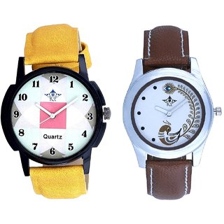 Yellow Strap Square Design With Brown More Couple Analogue Wrist Watch By Gujarat Hub