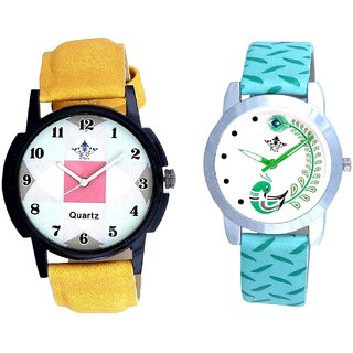 Yellow Strap Square Design With Green More Couple Analogue Wrist Watch By Gujarat Hub