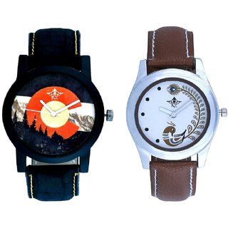 Green Mount Themes With Brown More Couple Analogue Wrist Watch By Gujarat Hub