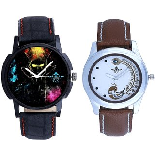 Ghost Design Dial With Brown More Couple Analogue Wrist Watch By Gujarat Hub