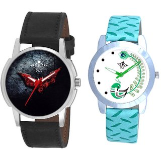 Red Batman With Green More Couple Analogue Wrist Watch By Gujarat Hub