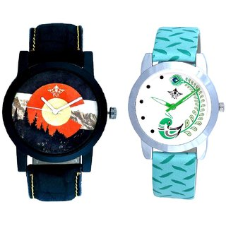 Green Mount Themes With Green More Couple Analogue Wrist Watch By Gujarat Hub