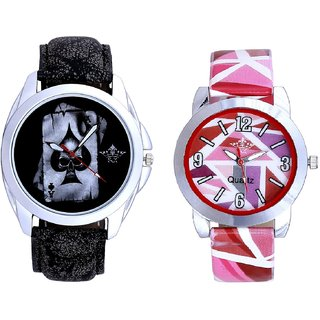 Akka Printed Dial And Multi Pink Art Couple Analogue Watch By Harmi Exim
