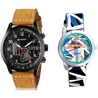 Curren Super And Multi Sky Blue Art Couple Analogue Watch By Harmi Exim