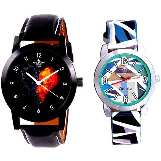 Burning Heart And Multi Sky Blue Art Couple Analogue Watch By Harmi Exim