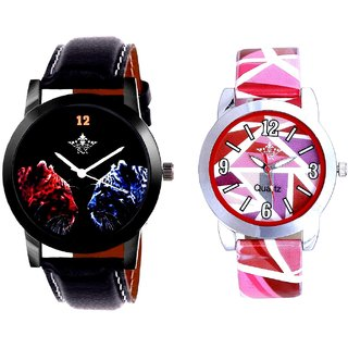 Black Dial 2 Jaguar And Multi Pink Art Couple Analogue Watch By Harmi Exim