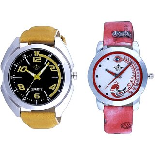 Fancy Yellow leather Strap And Red Peacock Couple Analogue Watch By Harmi Exim