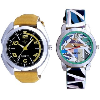 Fancy Yellow leather Strap And Multi Sky Blue Art Couple Analogue Watch By Harmi Exim